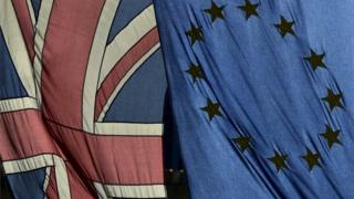 The British and EU flags