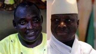 Yaxya Jammeh, midig, waxaa doorashada kaga guuleystay, Adama Barrow, bidix
