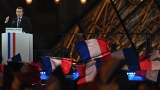 Эммануэль макрон у Лувра