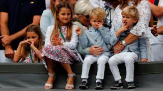 Roger Federer's children Charlene Riva, Myla Rose, Lenny and Leo at Wimbledon