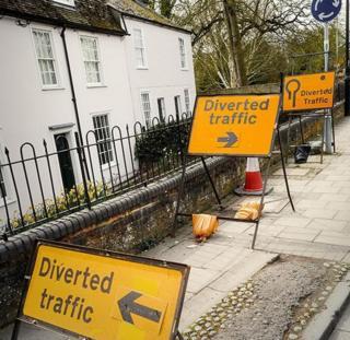 Diversion signs in Cambridge