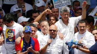 Líderes de la Mesa de la Unidad Democrática en la marcha del 1 de septiembre