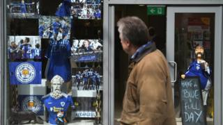 A shop showing support for Leicester City