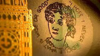 Üzerinde Jane Austen'in resmi olan 5 sterlinlik banknot