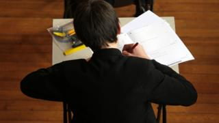 Pupil doing exam