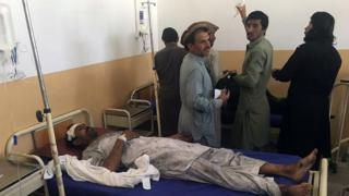 A Pakistani bombing victim is treated at a hospital in the tribal district of Kurram on 25 April 2017