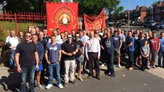 Firefighter job losses protest