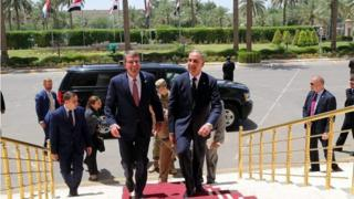 Ash Carter (centre left) with Iraqi Defence Minister Khaled al-Obaidi in Baghdad (11/07/16)