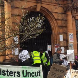 Library doors shut