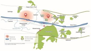 Map of the proposed lorry parks