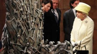 Queen Elizabeth gazes at the coveted Iron Throne