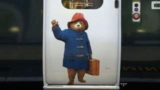 Paddington Bear on side of train