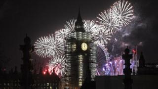 """Elizabeth Tower, the building colloquially known as """"Big Ben"""" for the bell in its clock tower, is silhouetted against the fireworks of London"""