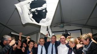 Corsican nationalists celebrate, 10 Dec 17