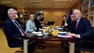 Brexit Secretary David Davis, Theresa May, European Commission President Jean-Claude Juncker and EU chief Brexit negotiator Michel Barnier meet at the European Commission in Brussels