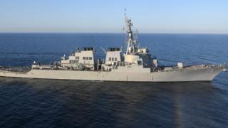 Guided-missile destroyer USS Porter transits the Mediterranean Sea on March 9, 2017.