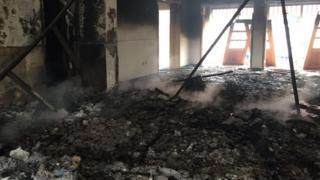 Burnt opposition offices in Kinshasa