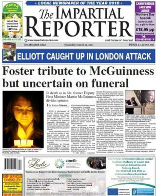 Impartial Reporter front page 24th March