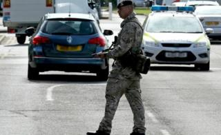 Soldiers patrolled the exterior of RAF Marham following the abduction attempt