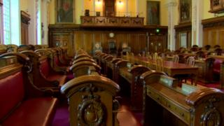 Belfast City Council's debating chamber