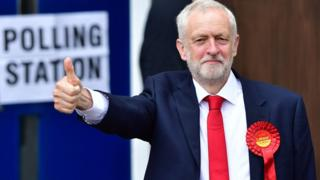 Jeremy Corbyn at a polling booth holding his thumbs up