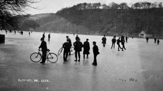 Ice rink on Rudyard Lake, 1907