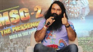 India's self-styled guru and spiritual leader Gurmeet Ram Rahim Singh speaks prior to the release of his film MSG Messenger of God II in New Delhi, India, 14 September 2015