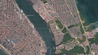 Vista aérea do Porto de Santos