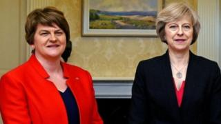 "Image caption The Conservatives are having to rely on the support of 10 DUP MPs after they fell eight seats short of winning an overall majority Northern Ireland's main parties are expected to hold talks with the prime minister in Downing Street on Thursday.Sinn Féin, the UUP, Alliance and the SDLP will hold separate meetings with Theresa May in the afternoon.She has already held talks with the DUP this week about a deal to support her minority Conservative government.DUP sources have told the BBC an announcement on a deal with Tories had been delayed because of the unfolding tragedy of the Grenfell Tower blaze.Meanwhile, Labour leader Jeremy Corbyn has demanded details of any Conservative-DUP deal, calling it a ""nonsense situation"". ""We want to know what is in the deal they are offering to the DUP and we want to know when it is going to be put before Parliament,"" he said. Election Live - rolling text and video updates Quick guide to what's going on Who are the DUP&#039.."