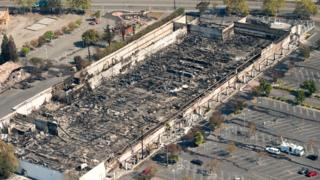 A K-mart supermarket was burned out in the Sanata Rose blaze