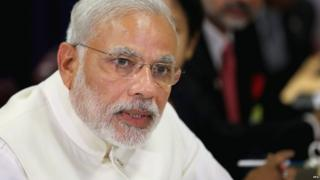 Narendra Modi pictured at the UN General Assembly