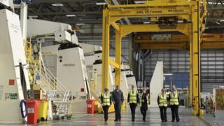 Chancellor George Osborne visiting Airbus' factory in Filton, Bristol earlier this month