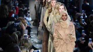 Somali model Halima Aden presents a creation for fashion house Max Mara during a fashion week in Milan, Italy - Thursday 23 February 2017