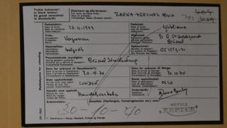 Copy of the Isdal Woman's check in form at the Hotel Neptun
