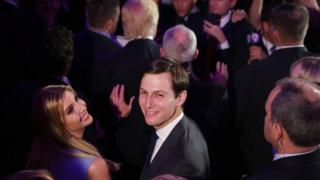 Jared Kushner and his wife Ivanka Trump acknowledge the crowd at the New York Hilton Midtown