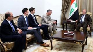 "Iraqi Prime Minister Haider al-Abadi (R), welcomes Marine Corps General Joseph Dunford, chairman of the Joint Chiefs of Staff (2nd R), and US President Donald Trump""s son-in-law and senior advisor Jared Kushner (3rd L) in Baghdad."