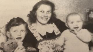 Christa Nolte as a baby with her mother along with her brother