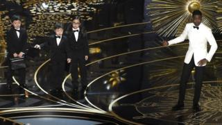 Chris Rock and children participate in a skit at the Oscars. 28 Feb 2016,