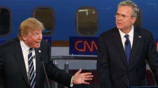Republican presidential candidates Donald Trump and Jeb Bush take part in the presidential debates