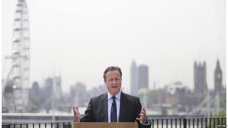 David Cameron speaking in central London