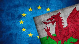 EU and Wales flags