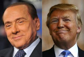 Silvio Berlusconi (L) and Donald Trump (composite image)