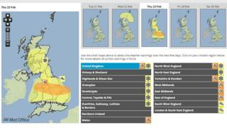 Met Office weather warnings