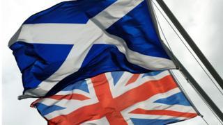 英国旗和苏格兰旗