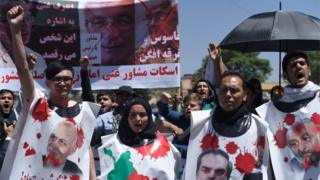 Afghan protesters shout anti-government slogans during a protest against the government following a catastrophic truck bomb attack near Zanbaq Square in Kabul on June 2, 2017.