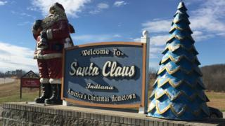Santa Claus road sign