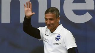Chris Hughton at Brighton's victory parade