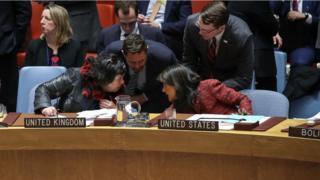 BM Güvenlik Konseyi'ndeki Birleşik Krallık ve ABD temsilcileri