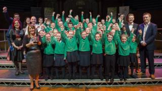 St Patrick's Primary School, Rathfriland, celebrate after winning the the BBC Radio Ulster School Choir Of The Year final