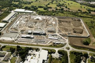 Aerial image of the prison site during construction